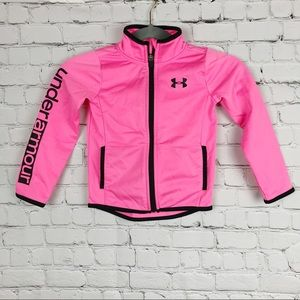 Under Armour Pink Girls Track Zip Jacket Size 4